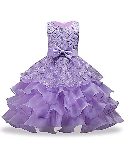 Brilliant sun Girls Formal Ruffles Flower Girl Dresses for Wedding 2-14 Years