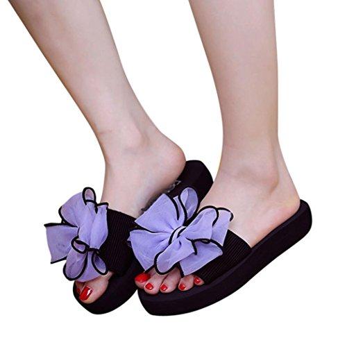 Femmes Dété Femmes Bowknot Sandales Pantoufle Intérieure Chaussures De Plage En Plein Air Violet
