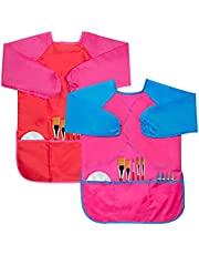 Cubaco 2 Pack Kids Art Smocks Children Waterproof Artist Painting Aprons with Long Sleeve and 3 Pockets for Age 3-8 Years