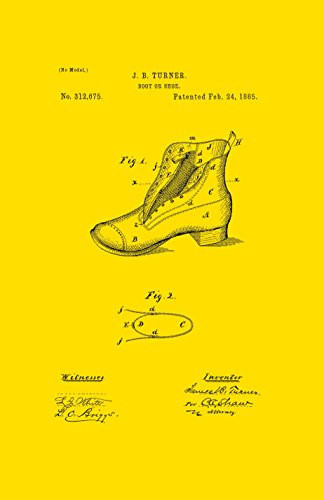 Framable Patent Art the Original Poster Art Print Vintage Footwear Shoe Boot 11in by 17in Patent PAPSSP112Y, Yellow (Footwear Patent Yellow)