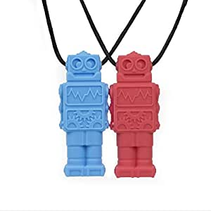 ChewBOT - Sensory Chew Necklace for Boys and Girls (2 Pack) - Safe and Durable Chewable to aid with Calming and Oral Sensory Stimulation for Teething, ADHD, and Anxiety