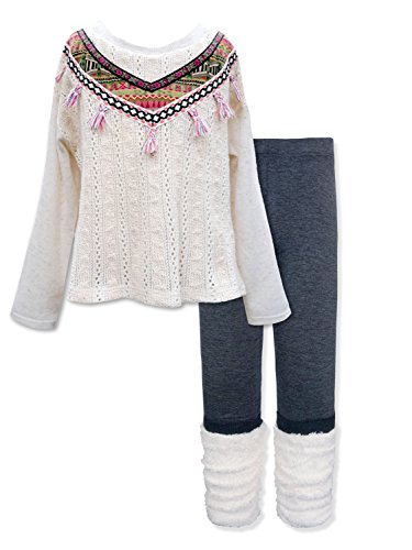 Girls' Long Sleeve Embellished Top & Bottom Set, 2-6X, 7-14 (8, Pink Multi) by SaraSara
