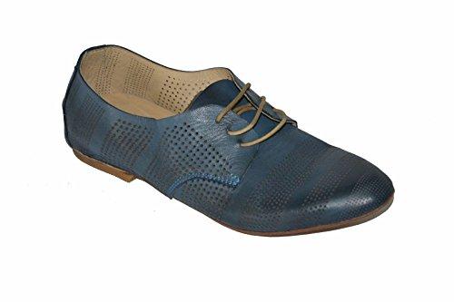 Zapato Bajo Kudeta Para Mujer 100% Cuero Azul Hecho En Italia, Al44 Talla 37