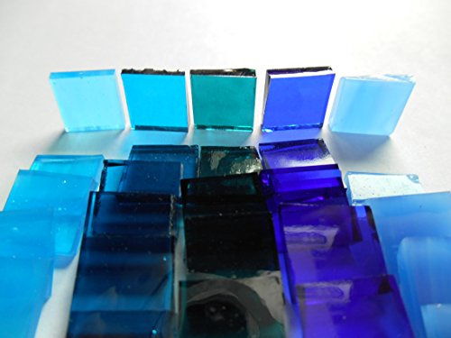 FortySevenGems 500 Pieces Blue Mix Cathedral Stained Glass Mosaic Tiles 1/2-Inch x 1/2 Inch ()