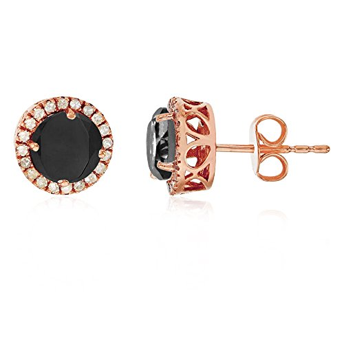 Sterling Silver Rose 6mm Round Onyx & Created White Sapphire Halo Stud Earring