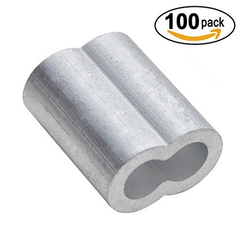 PES 100 Packs Cable Crimps Wire Ferrules Rope 1/8