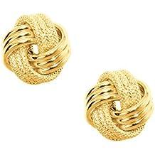 JewelStop 10K Yellow Gold Shiny Love Knot Stud Post Earrings - 9mm