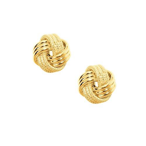 JewelStop 10K Yellow Gold Shiny Love Knot Stud Post Earrings - 9mm, 1.18gr.