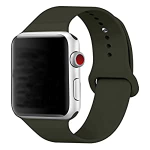 Band for Apple Watch 38mm, Guangzhi New Design (Metal Tuck Clasp Ouside/Correct Wearing Way in 4th Image) Soft Silicone Sport Strap Band for iWatch Series 1 / 2 / 3, Sport, Edition,38mm,Dark Olive