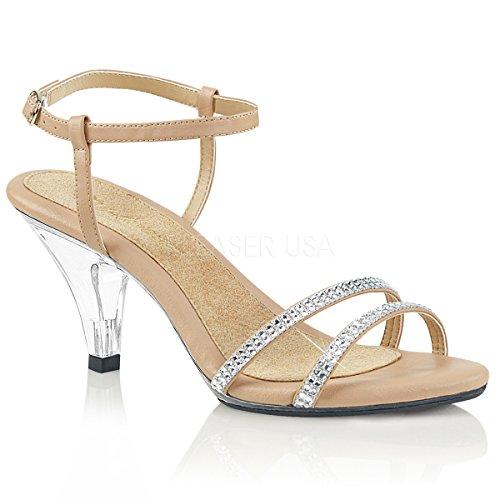 Favolosa Donna Belle-316 Sandalo A 3 Tacchi A Fascia Con Strass Nappa In Ecopelle / Clr