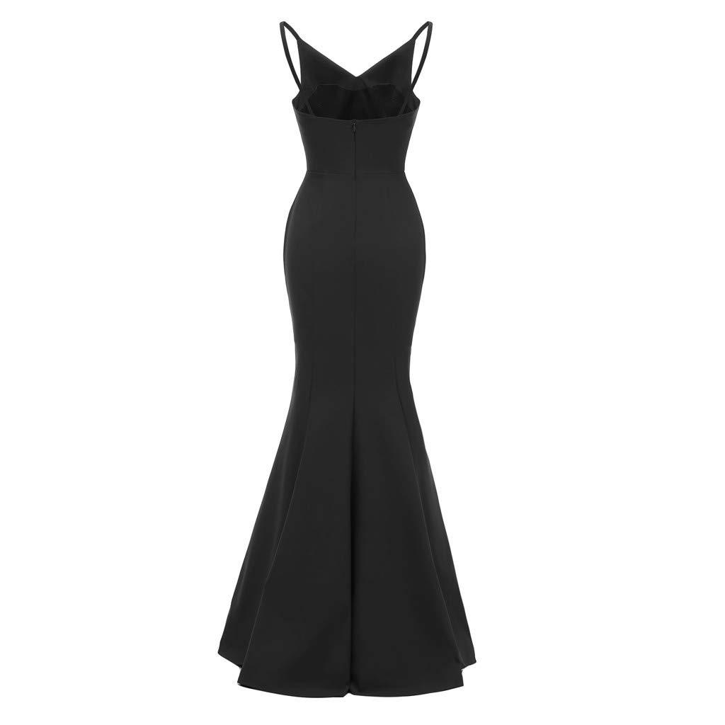 Women's Vintage Sling Bodycon Dress Sleeveless V Neck Solid Backless Vintage Split Country Rock Cocktail Dress (L, Black)