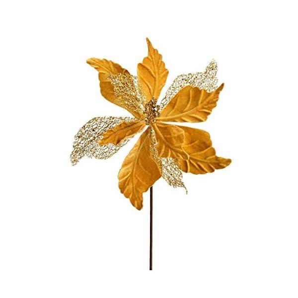 Vickerman 637630-12″ Gold Poinsettia Velvet Spray (6 pack) (QG190808)