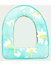 light blue flower printed toilet seat cover