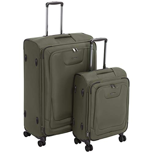 AmazonBasics 2 Piece Expandable Softside Spinner Luggage Suitcase With TSA Lock And Wheels Set - Olive