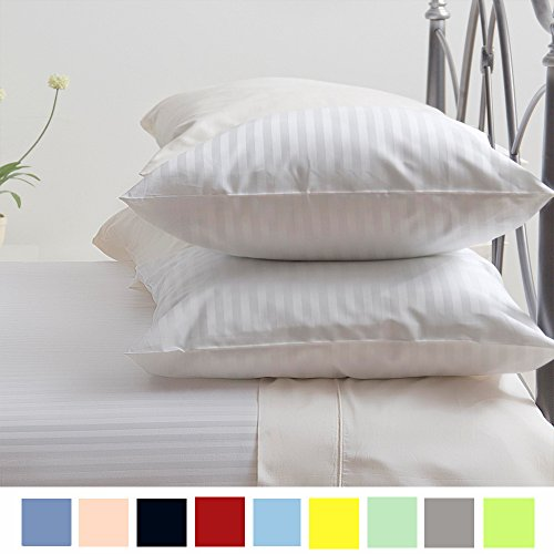 Egyptian Striped Pillowcase - Bed Alter Striped PILLOW CASE Set of 2 Hypoallergenic 100% Egyptian Cotton 600 Thread Count Luxurious Soft (California King/King, Pearl White)