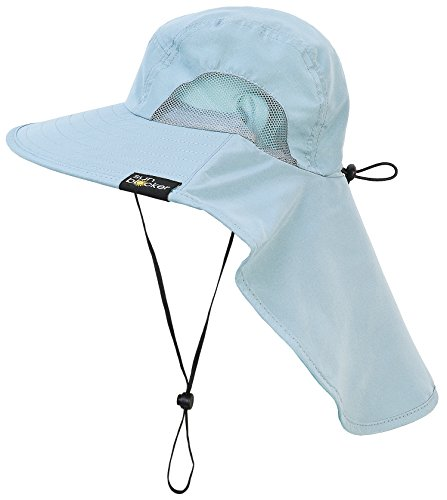 Sun Blocker Neck Flap Hat,Wide Brim Sun Protection Fishing Hat for Men and Women Safari Hiking Camping Working Boating Gardening Outdoor Adventures Blue