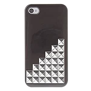 Silver Square Rivets Covered Up Stairs Pattern Hard Case with Glue for iPhone 4/4S (Assorted Colors) , Pink