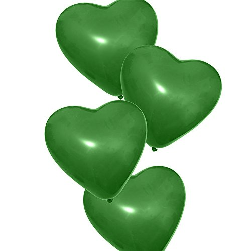 Green Heart Latex - Balloon for Party 50x Green Latex Balloon, Heart Shape Balloon, Wedding Birthday, Anniversary, Helimum Quality Balloons