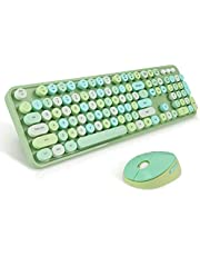 Wireless Keyboard and Mouse Combo, Sweet Mixed Color Cute Keyboard, 2.4G USB Ergonomic Keyboard and Mouse Combo for Computer, Laptop, PC Desktops, mac (Green Mixed Style Keyboard + Mouse)