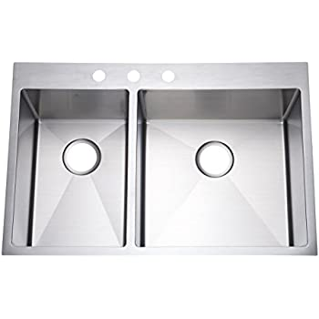 Medium image of starstar 33   top mount 40 60 double bowl kitchen sink drop in