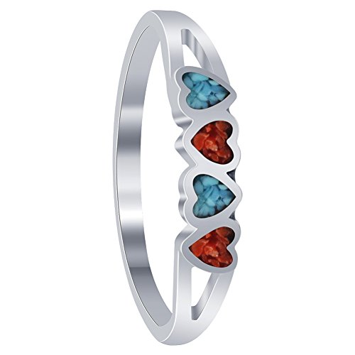 925 Sterling Silver Coral Ring (Gem Avenue 925 Sterling Silver Turquoise with Coral Gemstone Tiny Heart Ring)