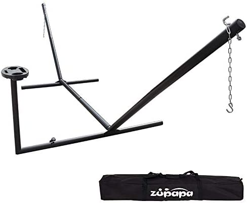 Zupapa Hammock Stand with Tray Fit for 12-15 Feet Hammock, 2 Person Heavy Duty 550 LBS Capacity with 2 Steel Chains 1 Carry Bag, Outdoor Indoor Use Steel Hammock Frame