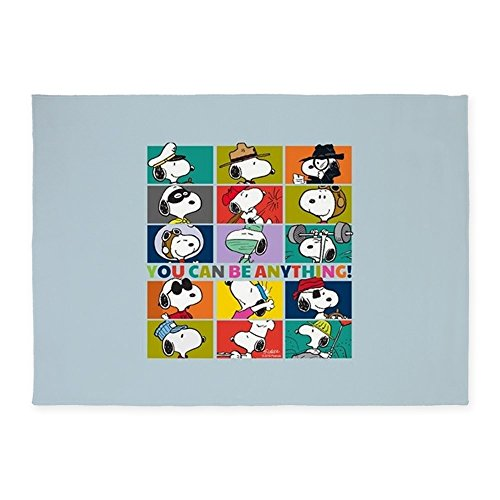 CafePress Snoopy-You Can Be Anything Decorative Area Rug, 5'x7' Throw Rug ()