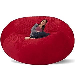 Comfy Sacks 8 ft Memory Foam Bean Bag Chair, Red Furry