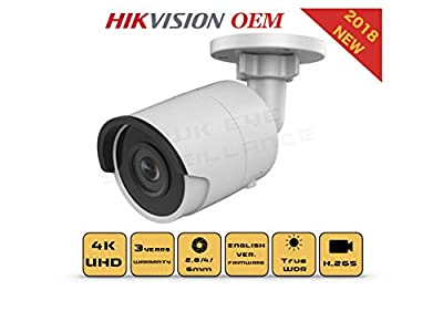 4K PoE Security IP Camera - Compatible with Hikvision DS-2CD2085FWD-I UltraHD 8MP Bullet Onvif IR Night Vision Weatherproof 4mmLens Best for Home and Business Security, 3 Year Warranty by hikvision