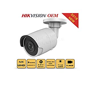 4K PoE Security IP Camera - Compatible with Hikvision DS-2CD2085FWD-I UltraHD 8MP Bullet Onvif IR Night Vision Weatherproof 2.8mm Lens Best for Home and Business Security, 3 Year Warranty