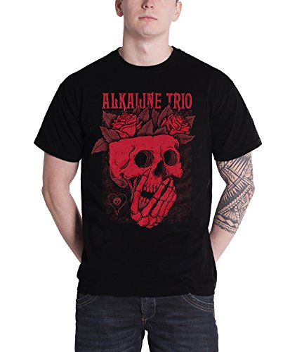 Alkaline Trio T Shirt Skull Rose Band Logo Official Mens Black (Alkaline Trio Patches)