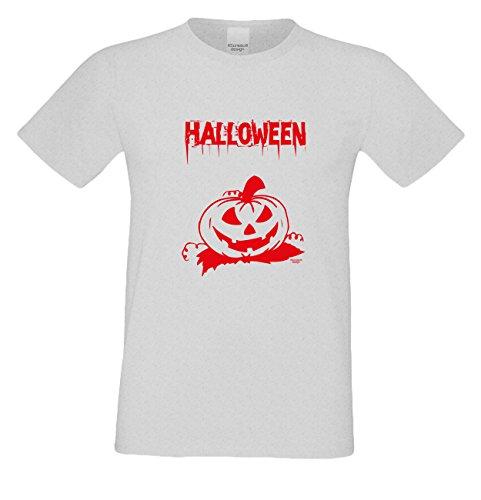 T-Shirt - Halloween Kürbis Shirt grau - gruseliges Motiv Shirt für Leute mit Humor