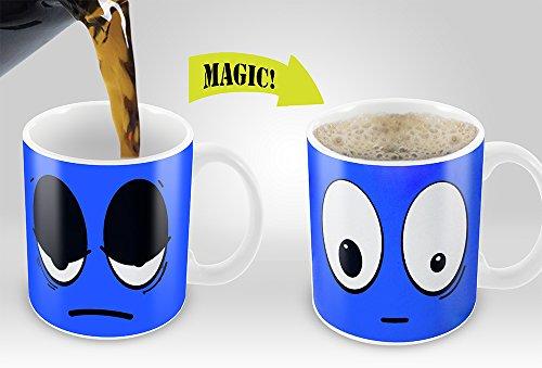 Heat Sensitive Mug | Color Changing Coffee Mug | Funny Coffee Cup | Blue Wake Up Funny Face | 11oz 100% Ceramic Mugs| Great Gift Idea