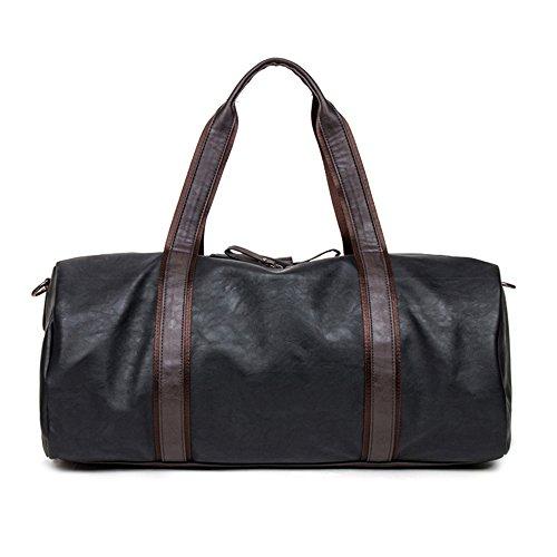 Gran bolsa de viaje de viaje PU hombres bolso bolsa para viajes, marrón negro