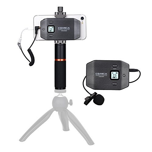 COMICA CVM-WS50(B) UHF Smartphone Microphone Lavalier Wireless System 6 Channels with Bulit-in Smartphone Holder Rechargeable Batteries Compatible for Both iOS and Android System