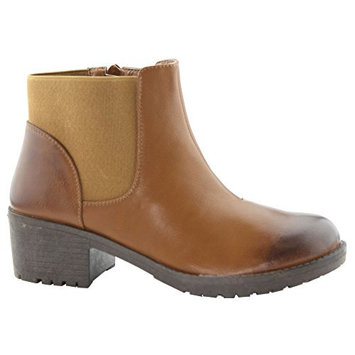 BELLA MARIE RYDER-17 Womens Elastic Zip Up Ankle Booties, Color:TAN, Size:7.5