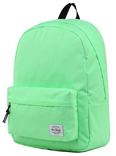 SIMPLAY Klassischer Schulrucksack Büchertasche   44x30x12.5cm   Verschiedene Farben   Weiß D196L, BlassesGrün