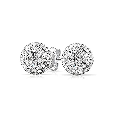 top Bling Jewelry White Crystal Ball Studs Shamball Inspired Silver Plated Brass