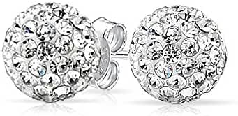 Bling Jewelry White Crystal Ball Studs Shamball Inspired Silver Plated
