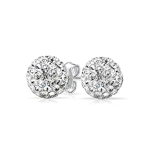 Bling Jewelry White Crystal Ball Studs Shamball Inspired Silver Plated Brass (Silver Ball April)