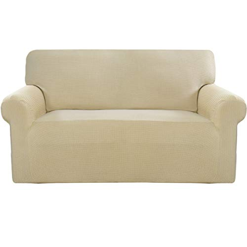 Easy-Going Stretch Sofa Slipcover Sofa Cover Furniture Protector Couch Soft with Elastic Bottom Anti-Slip Foam Kids,Polyester Spandex Jacquard Fabric Small Checks(loveseat,Ivory