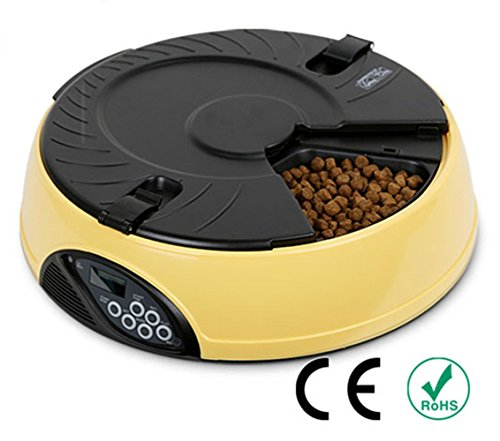 Automatic Pet Feeder PYRUS Pet Feeder Separate Compartments Food Trays Secure Locked Programmed Feeder for Pets (Yellow)