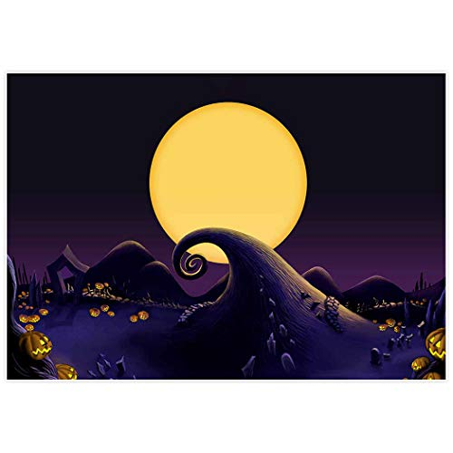 Allenjoy 7x5ft Nightmare Before Christmas Themed Backdrop for 2018 Halloween Pumpkin Jack Theme Birthday Baby Shower Photo Studio Photography Pictures Background Party Home Decor Decoration Shoot