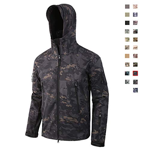 Military Ba Tactical Hiking Camouflage Hunting Jackets Hooded-CP Black 2XL Camouflage Thermal Lined Zipper