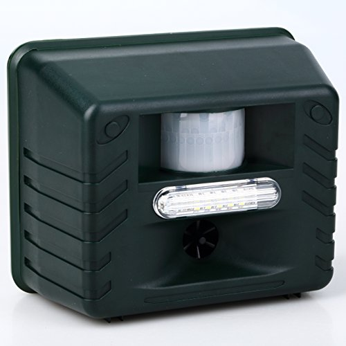 Seicosy (TM) Ultrasonic Animal Pest Repellent & Electric Bird Repeller, With Motion Detector + Intruder Alarm + Flashing Light ()