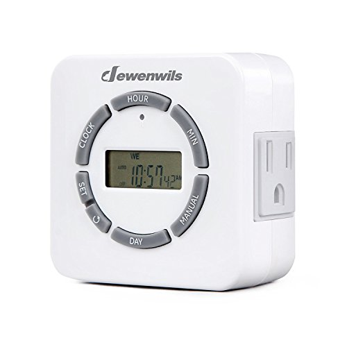 (DEWENWILS Indoor Programmable Digital Outlet Timer, 7 Day Plug in Lamp Timer with 2 Grounded Outlets for Grow Light/Aquarium, 1/2 HP, ETL Listed)