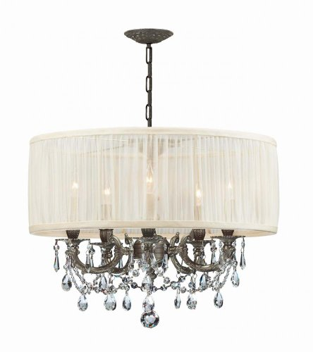 Cls Traditional Crystal Chandelier - Crystorama 5535-PW-SAW-CLS Crystal Accents Five Light Mini Chandeliers from Gramercy collection in Pwt, Nckl, B/S, Slvr.finish,