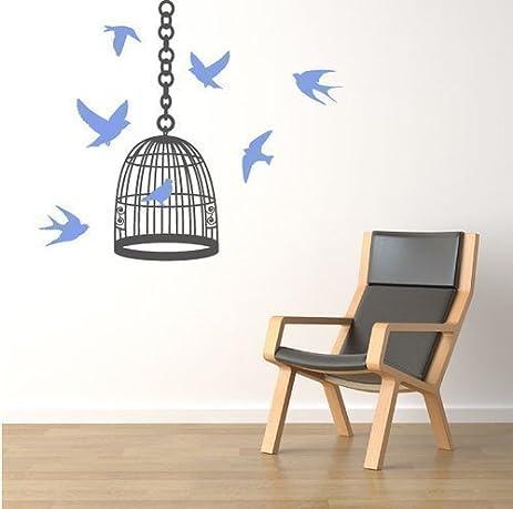 Swallows Bird Cage Wall Sticker Decal Salon Home Interior Idea