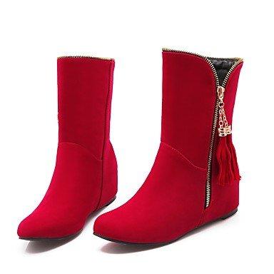 Heart&M Damen Stiefel Modische Stiefel Herbst Winter Samt Stoff Normal Niedriger Absatz Schwarz Rot Königsblau 2,5 - 4,5 cm red