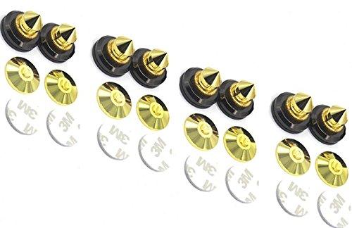 MiCity Piedini conici per altoparlanti, attenuatori di vibrazioni in rame puro massiccio placcato oro 24k, con guarnizione, set di 8 pezzi set di 8pezzi Speaker spike pads